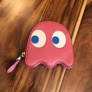 Coach Pac-Man Pink Ghost Coin Purse Pouch Wallet